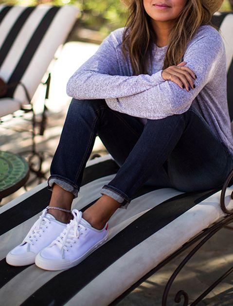 heather gray sweatshirt, cuffed dark denim Jeans and #Converse white sneakers