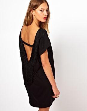 American Apparel Oversized Scoop Back Fringe Dress