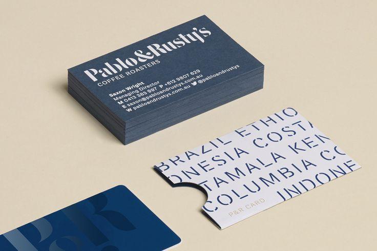 Business cards for Australian coffee roaster Pablo & Rustys by Manual