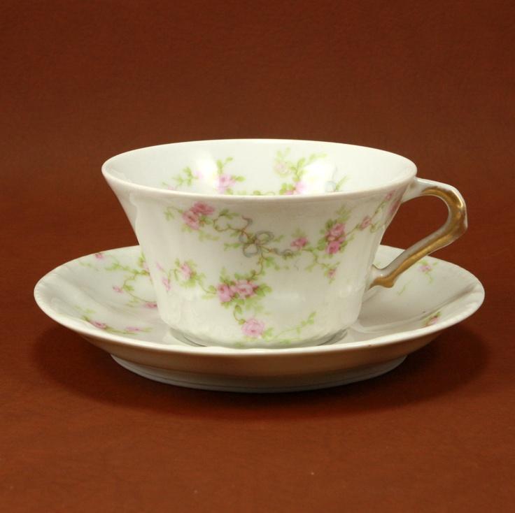 Limoges Haviland China Teacup Saucer Pink Roses Blue Ribbons ...