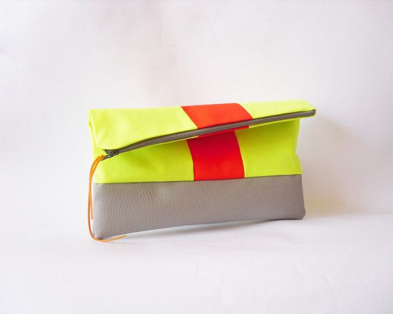 Neon Clutch  Fold overFaux leather in grey Neon Fabric by byMART, $30.00