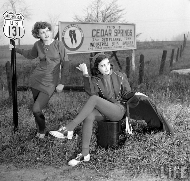 Two gals on their way to the Red Flannel Festival in Cedar Springs, Michigan, 1949 (Life), reposted by Found Michigan