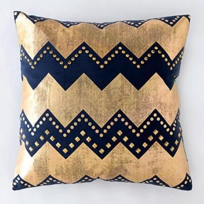 Gatsby Pillow, Gold and Navy | Lulu and Georgia