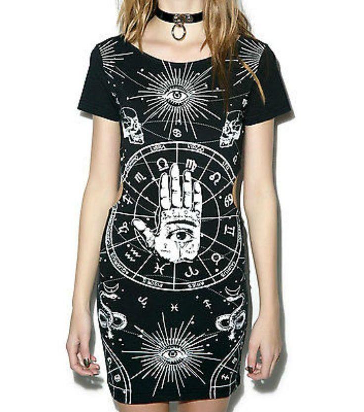 Jawbreaker Gothic Illuminati Psychobilly Bewitched Hand Black Dress Dra2477