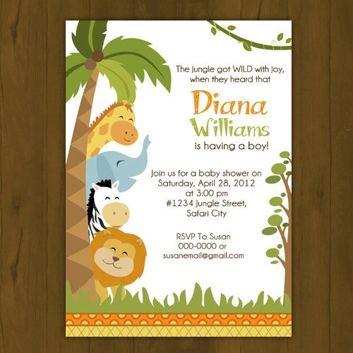 Safari baby shower invitation jungle baby shower for Baby shower party junge