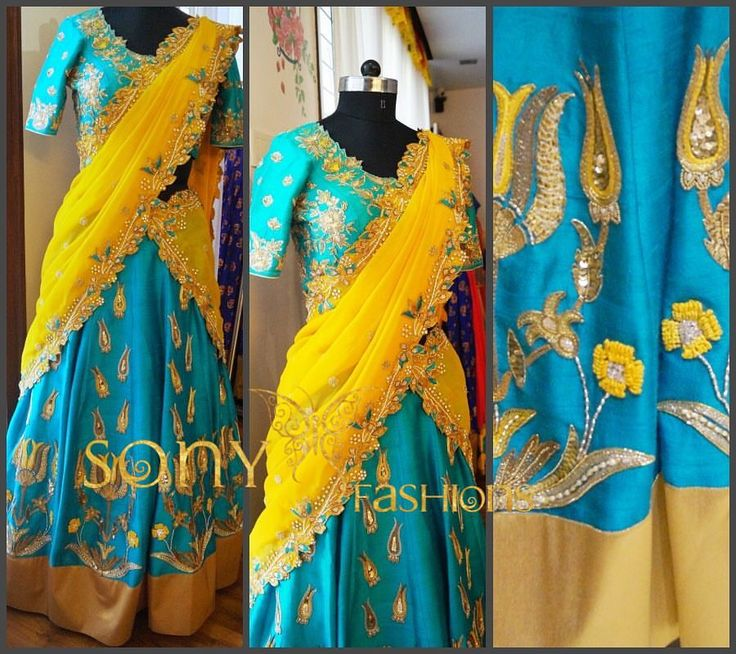 Stunning yellow and sea blue color langa voni with beautiful embroidery cut work from Sony fashions.To place order Call or WhatsApp:-8008100885  19 May 2017