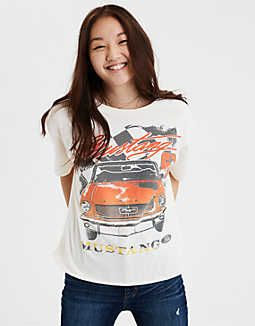 8be89904815 AE Mustang G67 Graphic Tee, White | American Eagle Outfitters ...