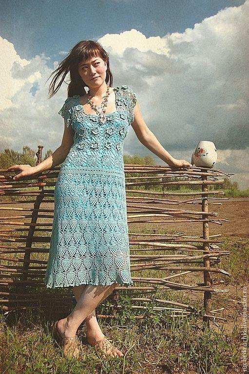 """Купить """"Бегущая по волнам"""" Платье крючком из мерсеризованного хлопк - вязаное платье, крючок, платье крючком"""
