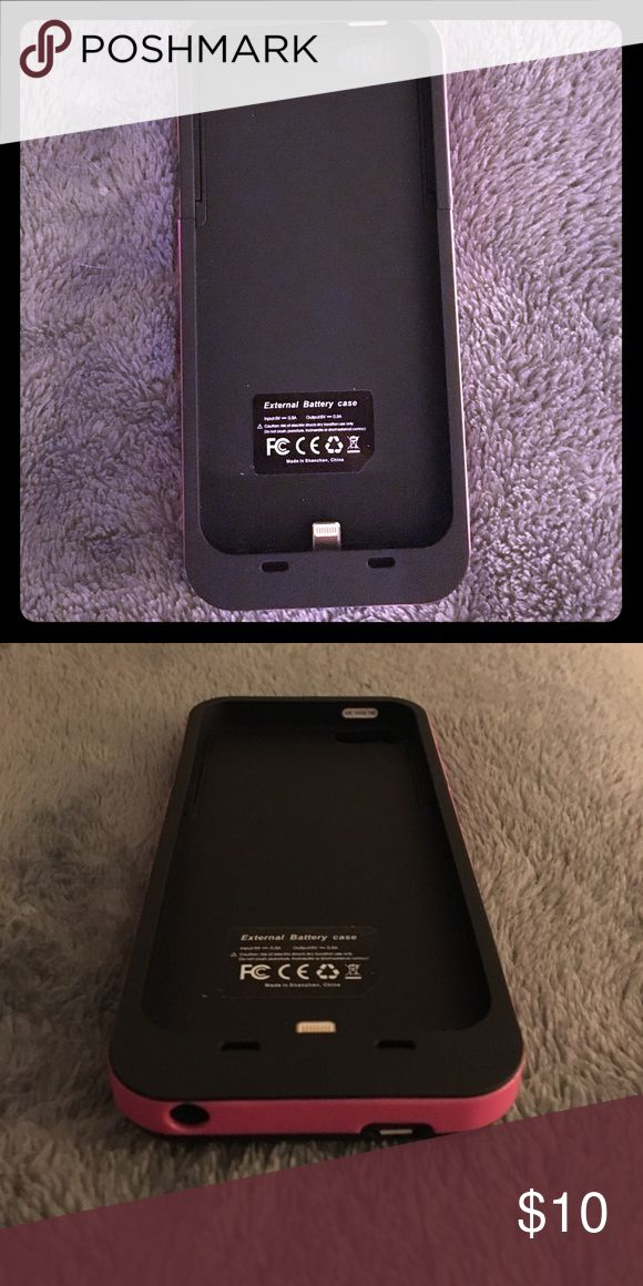 iPhone 5 & 5 s external battery / charger iPhone 5 external battery case with extra charge. Loved it but no longer have IPhone 5. Works with IPhone 5 and 5s. Black with pink on sides Accessories Phone Cases