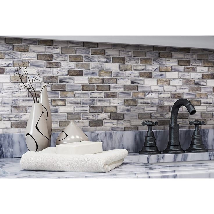 Mineral Tiles - Glass Subway Tile Backsplash Aged Silver