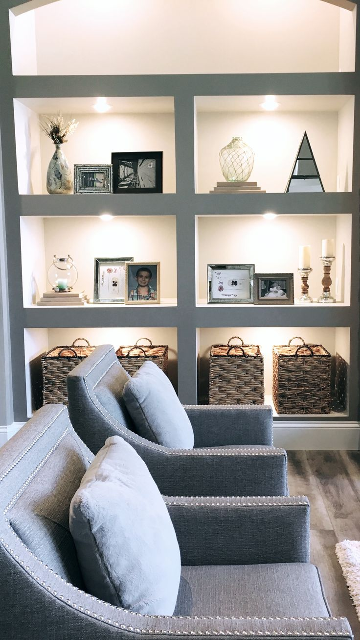 How to decorate deep built-in shelves using transitional home decor.