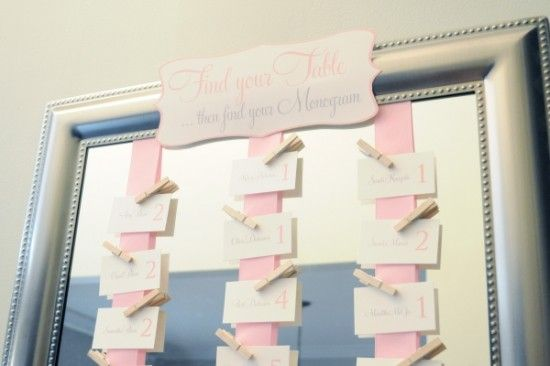 bridal shower seating chart via southern weddings 550x366 Bridal Shower Ideas