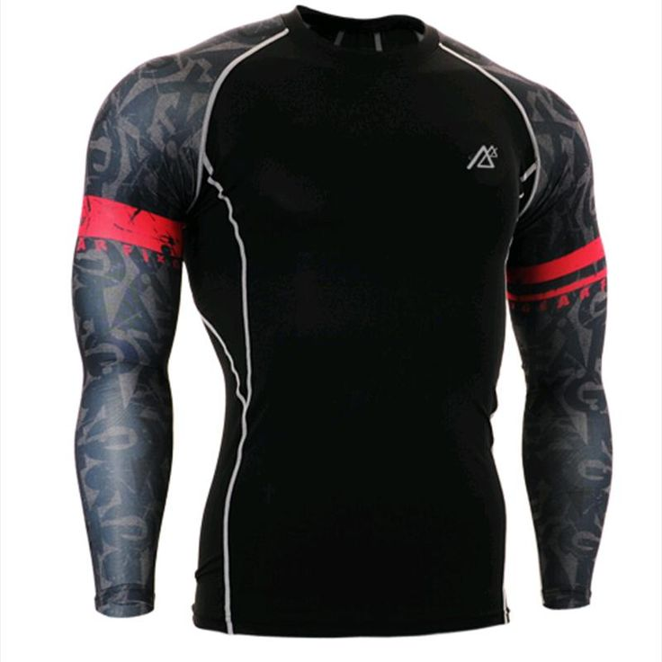 Mens Compression Long Sleeve TShirts 3D Print Cycling Gym Fitness Exercise Running Shirts Body Building Indoor Outdoor Sports