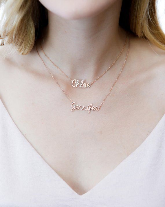 a58b9f11f7a9b Double Chain Name Necklace • Personalized Layer Name Necklace ...