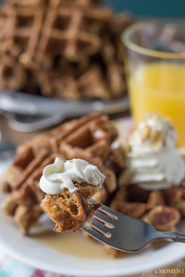 Whole Wheat Carrot Cake Waffles with Cream Cheese Whipped Cream | Baking a Moment