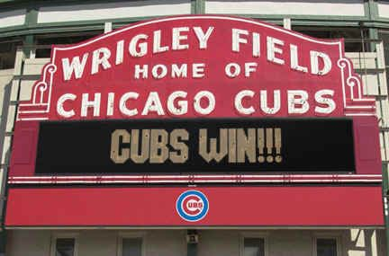 Cub's marquee at Wrigley Field.
