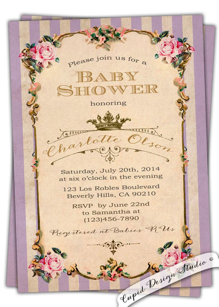 New to CupidDesigns on Etsy: Vintage Lilac Baby Shower Invitation. Royal baby shower invitation. Chic baby shower invitation. Personalized digital printable or printed. (20.00 USD)