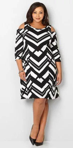 Plus Size Chevron Cold Shoulder Dress