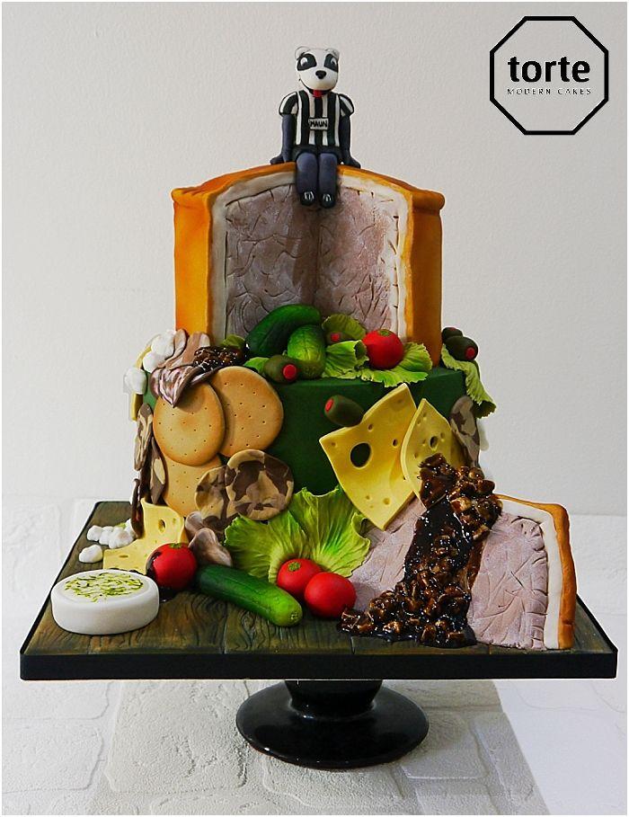 Pork Pie and Salad birthday cake featuring Bobby the Badger, Stafford Rangers mascot #birthday #cake #footballmascot #bobbythebadger #srfc #porkpie #website
