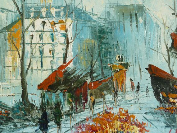 60s Mid Century Modern Impressionist Expressionism Urban City Scene Buildings Rain Shops People Walking Flower Shops HERBERT Oil Painting