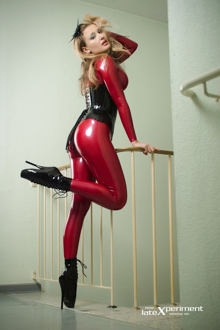 Hot blonde fucks in latex suit with huge tits