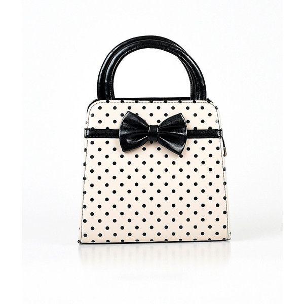 Cream & Black Polka Dot & Bow Leatherette Handbag ($52) ❤ liked on Polyvore featuring bags, handbags, shoulder bags, white, polka dot purse, bow handbag, black structured handbag, black purse and black shoulder bag
