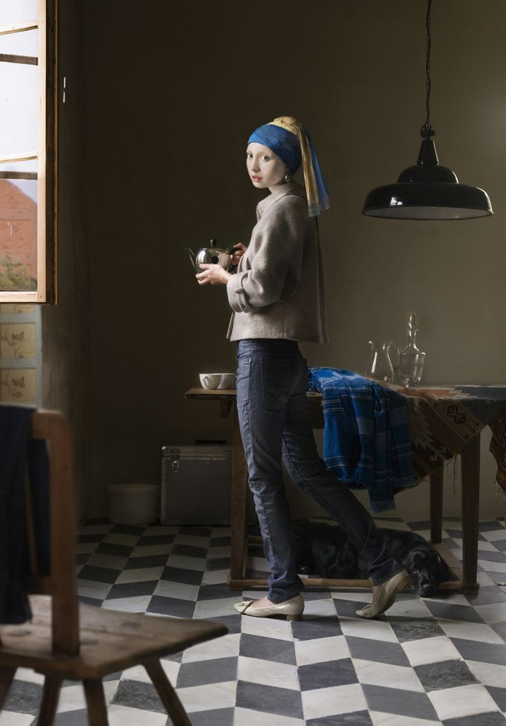 """Artist Dorothee Golz. One of her digital painting projects takes classic Renaissance paintings (such as Girl with a Pearl Earring by Johannes Vermeer) and transfers them into modern situations."""