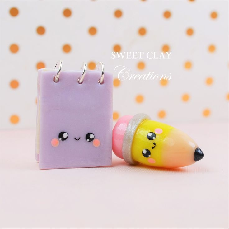 Notepad and pencil Kawaii charms. Polymer clay Kawaii handmade jewelry by Sweet Clay Creations