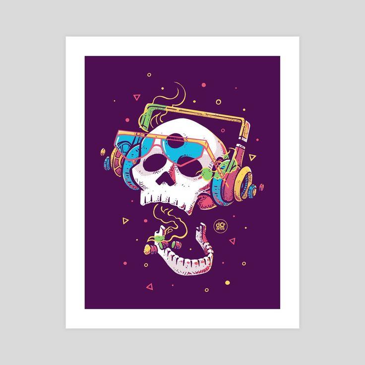 Smoke by desCOLORido (dcoarts) | Twitter    #dcoarts #illustration #art #digitalart #drawing #cool #creative #tshirtdesign #poster #artprint #skull #music #death #headphones          Skull illustration | craneo ilustracion | craneo dibujo
