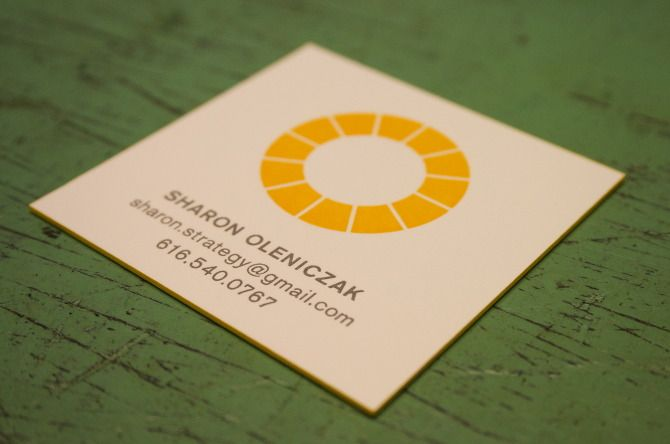 Custom letterpress square business cards with edge painting via Grand Rapids Letterpress company: Freshly Squeezed Print Shop