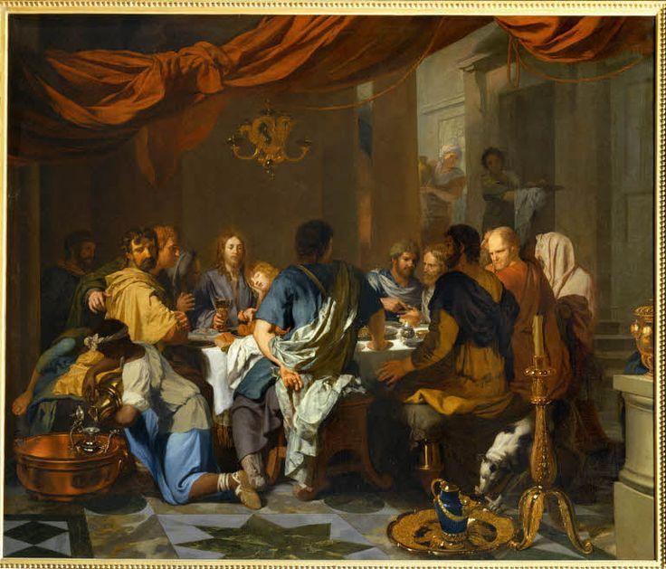 Gérard de PAIRESSE, Jésus-Christ instituant la Pâque avec ses disciples ou L'Institution de l'Eucharistie  A dater assez tôt dans l'oeuvre de l'artiste, vers 1664/1665  H. : 1,37 m. ; L. : 1,55 m. Musée du Louvre