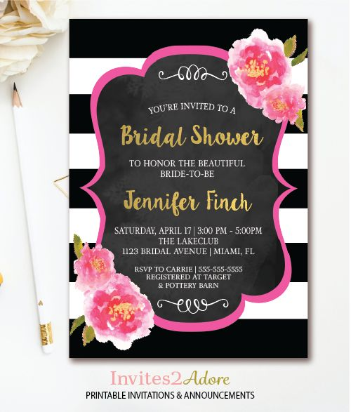 41 best bridal shower invitations images on pinterest bachelorette black white stripe bridal shower invitation floral bridal shower invite pink watercolor florals chalkboard printable filmwisefo