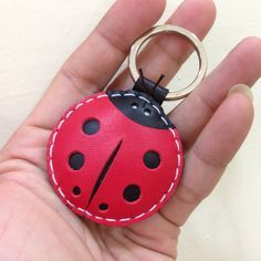 Leather Keychain – Penny the LadyBug Leather Charm ( Red )