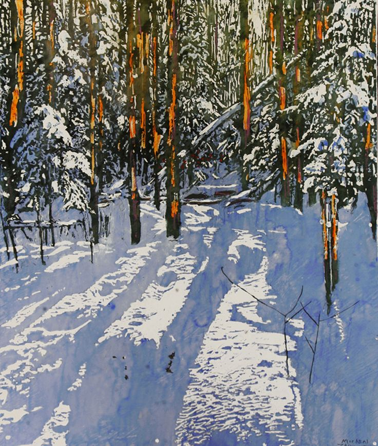 """A scattering of sunlight among a scattering of trees 22"""" x 18"""" micheal zarowsky / Mixed media (watercolour / acrylic painted directly on gessoed birch panel)  Available $950.00"""