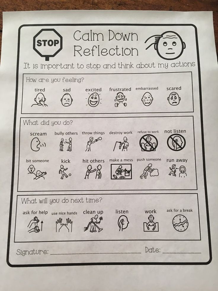 Help with managing behaviour (for students with special needs/ students with autism) through the use of visual coping strategies. Reflection sheet.