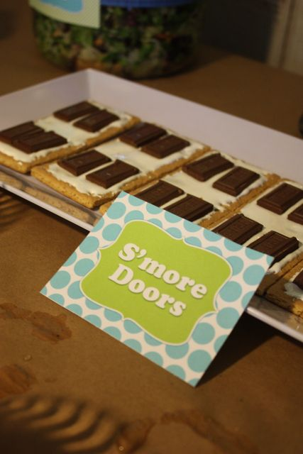 S'more doors at a Monsters Inc party #monstersinc #partyfood
