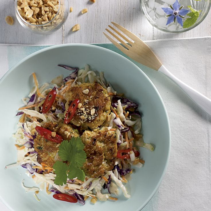 Spicy Fish Cakes on Japanese Style Slaw