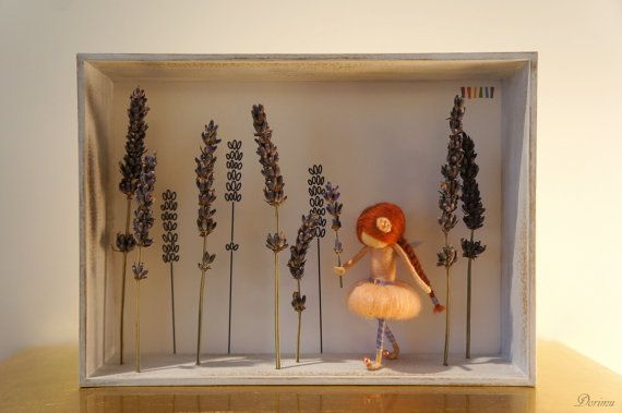 Needle felted figurine fairy in 3D frame LAVANDER by DORIMU, $85.00