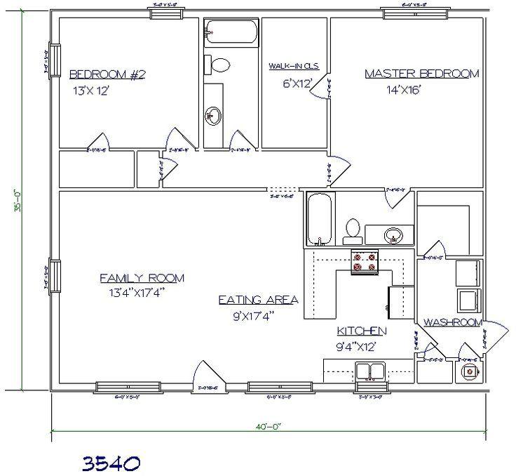 Pin barndominium floor plans 40x60 joy studio design for Barndominium floor plans with garage