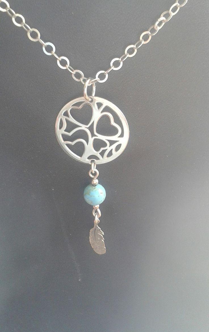 collier pendentif argent 925/ 1000 et turquoise : Collier par castello-verre