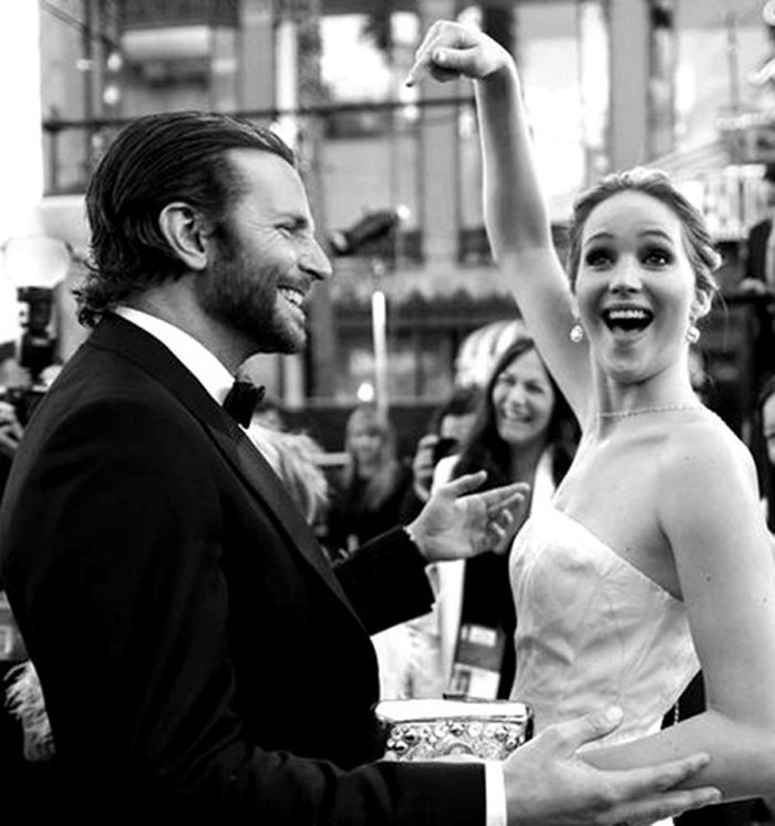 J. law and Bradley Cooper…EVERYONE gets excited to meet Bradley Cooper!