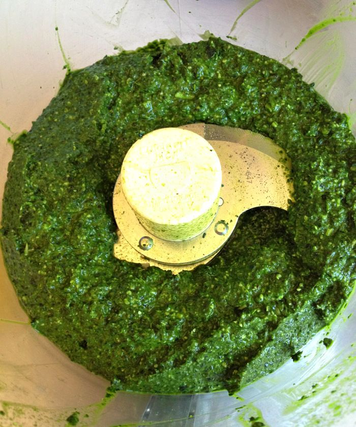 Kale Pesto in food processor on Shockingly Delicious