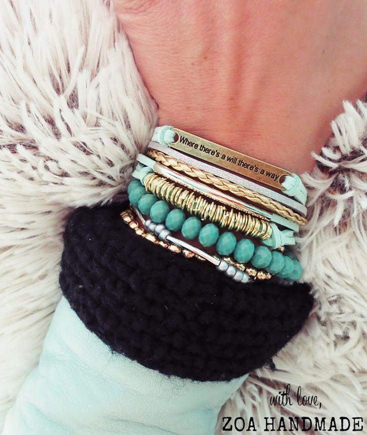 New mint combo zoa handmade bracelet