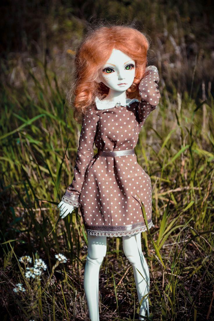 Tess #doll #bjd #resinsoul #redhair #whiteskin #dress #forest