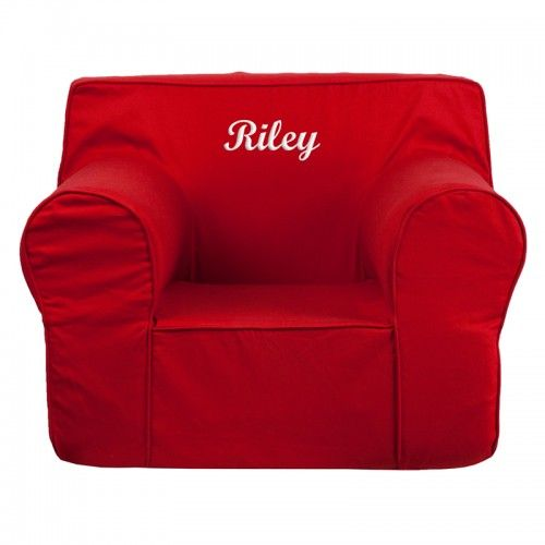 Personalized Oversized Dot Kids Chair With White Piping
