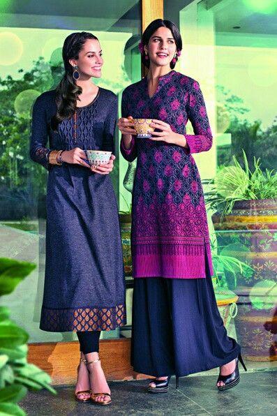 The left kameez is pakistani style long kameez..dark blue kameez with black tights.