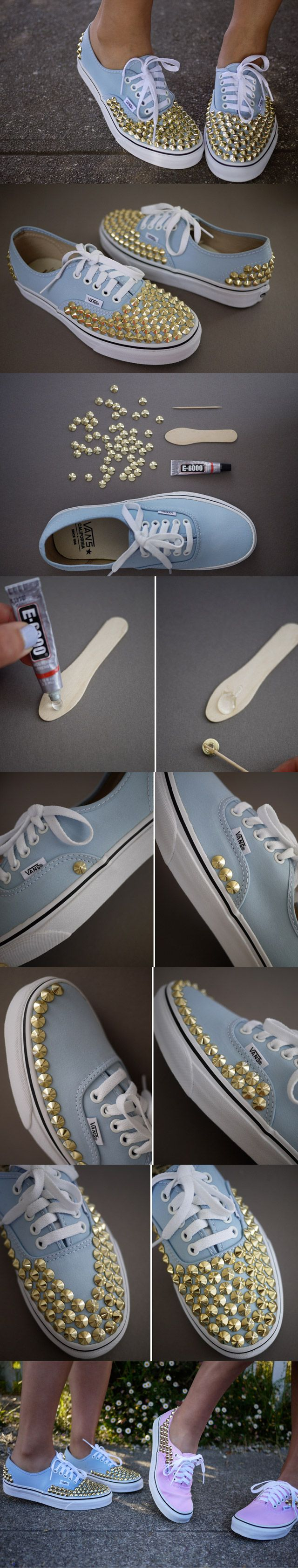 DIY Studded Shoes, we have everything you need to customise your shoes with studs, spikes, crystals and buttons.  The best glue to use when embellishing your shoes is E6000