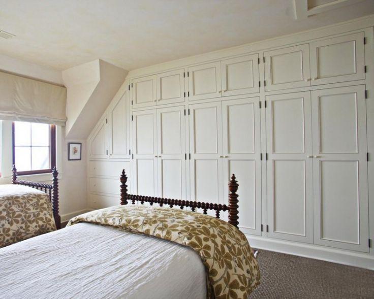 Scandinavian fitted bedroom wardrobe - with white doors