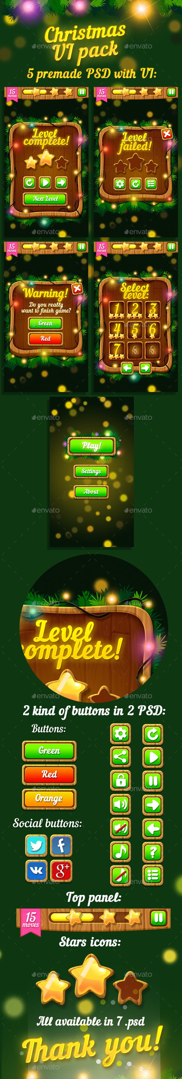 Christmas Game UI Pack — Photoshop PSD #game design #GUI set • Available here → https://graphicriver.net/item/christmas-game-ui-pack/13830177?ref=pxcr