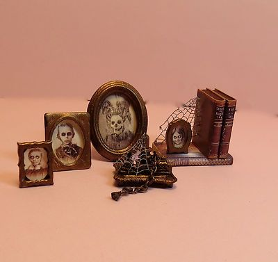 Dollhouse Miniature 1:12~ Haunted Desk Accessories-Aged, Spooky, Halloween OOAK